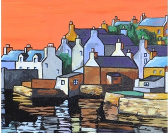 Stromness Still Sunset - Open Edition Giclee Print by aelvinart