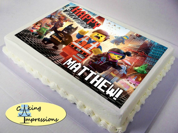 LEGO movie edible image cake topper Emmet by CakingImpressions