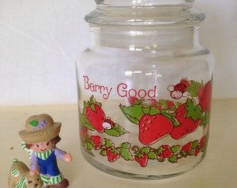 Strawberry Shortcake Jar and Huckleberry Pie and Pupcake Figurine  ~ Vintage 1980s American Greetings ~ Candy Jar