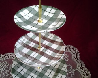 Wedding Cake Stand, 3 Tier Cake Stand, China Vintage, Green Cake Stand,Cupcake Tower, Plaid china, 3 Tier tidbit tray