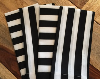 Black and white stripe Napkin-Black, white-Set of 2 or 4