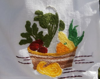 Eco-Friendly Embroidered Shopping Bag - Upcycled Market Bag - Recycled White Cotton Tote Rainbow Fruit Vegetable Picture Grocery Carrier