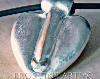 Heart pendant nearly joined - exclusive erotic jewelry - lingam - phallus - penis - love - gift - tantra - kamasutra - erotic jewelry