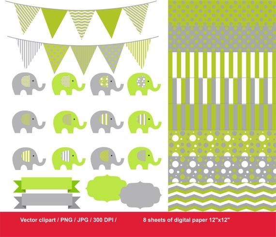 80% Off Lime green elephant clip art / grey elephant clip art