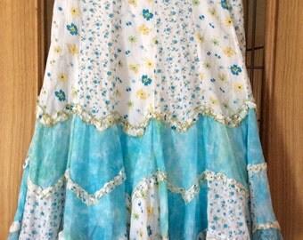 Layered cotton ruffled boho skirt