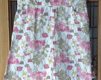 White and pink floral print cotton summer skirt