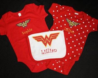 Personalized Onsie and Bib - Wonder Woman Onsie and Bib Set