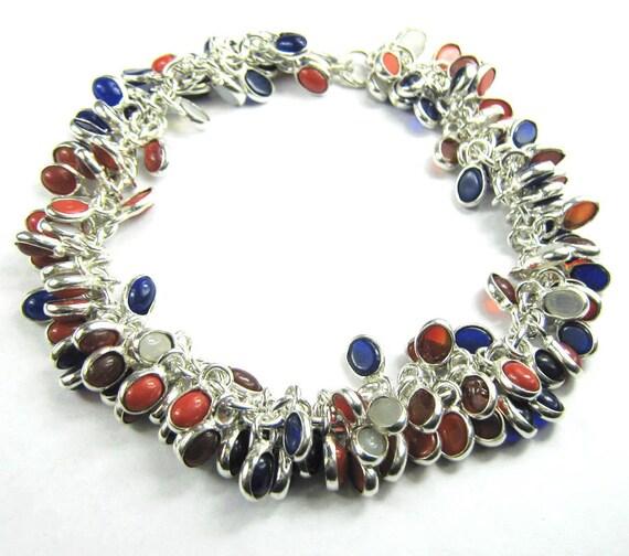 Silver Multi Stones 69 gms 11 inch Indian Handmade Designer Ethnic Beautiful Gemstone Bracelet Jewelry Fashion