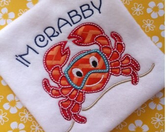 Summer Crab Beach Applique Design SEE DESCRIPTION Embroidery Pattern INSTANT Download Digital File Lake Scuba Crabby Ocean Water Kids Baby
