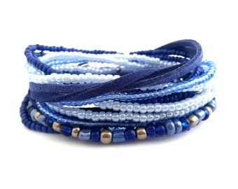Blue Beaded Wrap Bracelet Beaded Jewelry Dark Blue Bracelet Seed Bead Stretch Bracelet Wrap Jewelry Blue Stretch Blue Jewelry Boho Bracelet