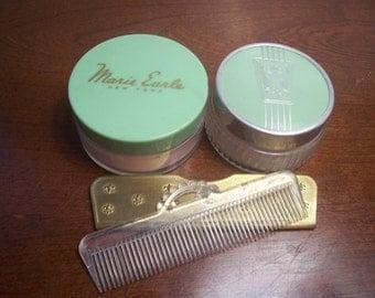 Vintage Powder Jars and Comb