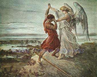 """Gustave Dore """"Jacob Wrestling with the Angel"""" c1855 Reproduction Digital Print"""
