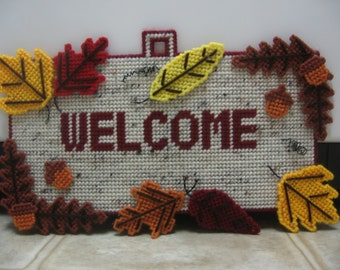 Fall Decor-Fall Decorations-Fall Welcome Sign-Thanksgiving Decor-Fall Wall Decor-Fall Plastic Canvas-Fall Leaves-AcornDecor-Fall Door Decor