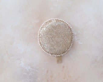 Patsy circular sequin and pearl pillbox headpiece