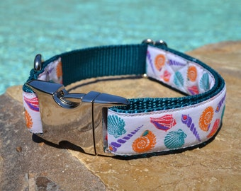 Colorful Seashell Dog Collar with Teal Nylon Webbing (Adjustable; Metal Buckle)