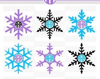 Winter Snowflakes SVG Cut Files - Monogram Frames for Vinyl Cutters, Screen Printing, Silhouette, Die Cut Machines, & More