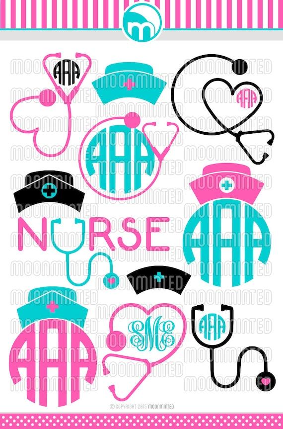 Nurse SVG Cut Files Monogram Frames For Vinyl Cutters Screen