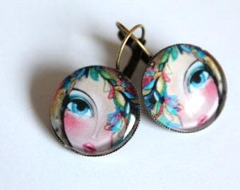 Cabochon earrings Faces