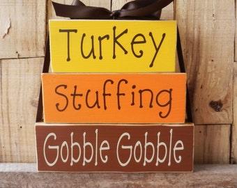 Turkey Stuffing Gobble Gobble, Thanksgiving Blocks, Autumn Blocks, Fall Blocks, Thanksgiving Sign, Block set, Wood Sign, Thanksgiving Sign