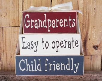 Grandparents Easy to operate Child friendly, Wood blocks,Grandparents blocks, wood sign, Grandparents sign, Grandparents,