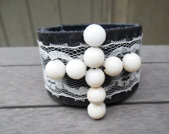 Black & White Lace Jade Beaded Cross Up-Cycled Leather Cuff Bracelet
