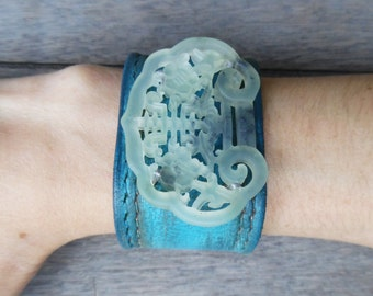 Turquoise Green Ivory Distressed Floral Hand-Carved Chinese Jade Pendant Upcycled Leather Cuff Bracelet