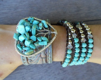 Turquoise Silver Brown Tree of Life Heart Agate Beaded Wrap Upcycled Leather Cuff Bracelet Stacking Set