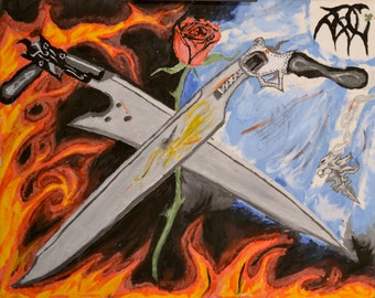 "Original ""Gun Blades"" Hand Made Acrylic Final Fantasy VIII Painting, Final Fantasy 8 Swords, Lionheart, Good versus Evil Canvas Painting"