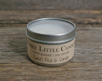 Sweet Pea & Vanilla Scented Soy Candle - Hand Poured - 4oz Tin w/Clear Lid