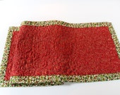 Quilted Table Runner, Red, White and Green Holiday Table Topper, Handmade Christmas Centerpiece, Quilted and Pieced Long Table Runner