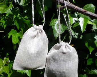 natural linen bags, gift bags, natural packaging, 50 pieces of gray linen bags, size 5 x 6 inches
