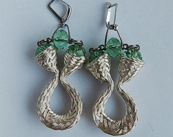 Earrings of German silver with zirconium, handmade