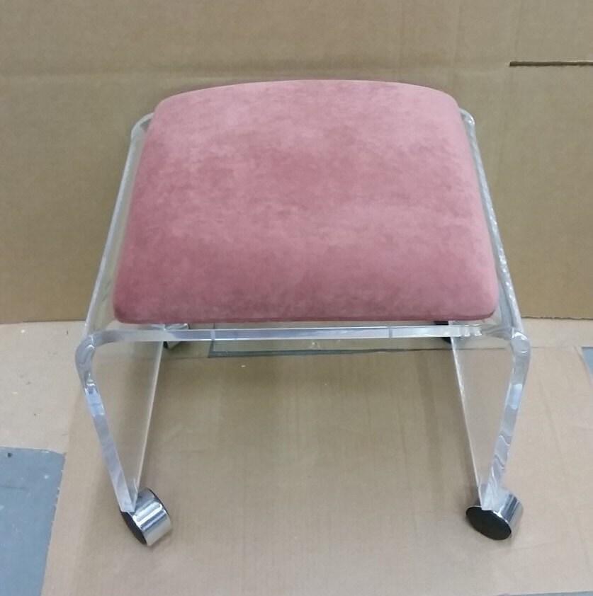 acrylic vanity bench | Clear Acrylic Vanity Bench with Fabric by OneStopPlasticShop