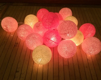 20 x Pink Tone cotton ball string light for decor ,bedroom, wedding, party, garden,lamp,lantern