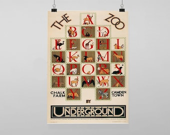 London Zoo Alphabet Travel Underground Rail Train Station - Vintage Reproduction Wall Art Decro Decor Poster Print Any size