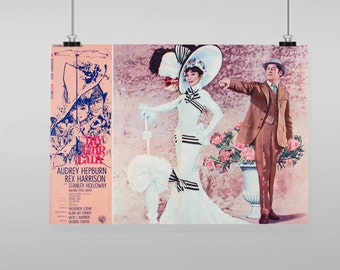 My Fair Lady Audrey Hepburn Movie Poster Reproduction - Vintage Reproduction Wall Art Decro Decor Poster Print Any size