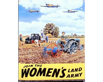 World War Propaganda Join The Woman's Land Army Vintage Advertising Enamel Metal TIN SIGN Wall Plaque