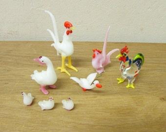 Set of 8 vintage hand-blown art glass farmyard birds