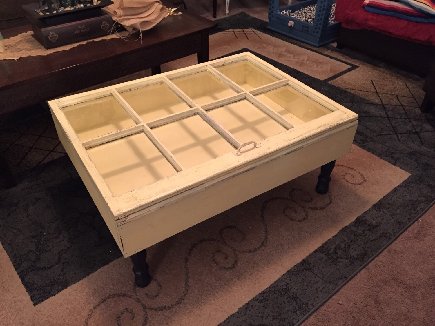 On Sale Distressed Shadow Box Coffee Table Window Table