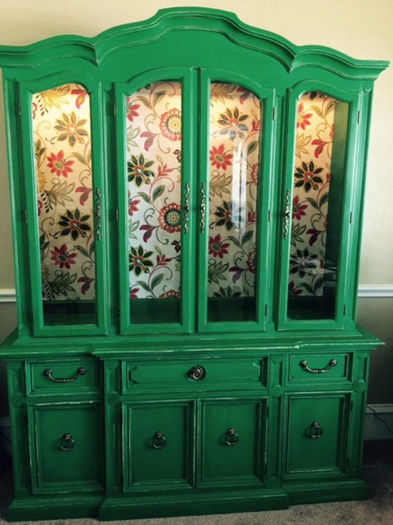 Items similar to Vintage Distressed Emerald Green China Cabinet on ...