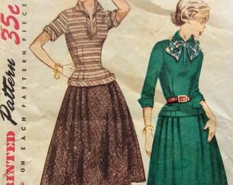 Simplicity 3997 vintage 1950's junior misses blouse & skirt sewing pattern size 14 bust 32 waist 26