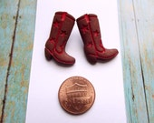 Boots Stud Earrings, Post, Red Boots, Cowgirl Earrings, Handmade, Western, Kawaii, Pair, Children, Girls