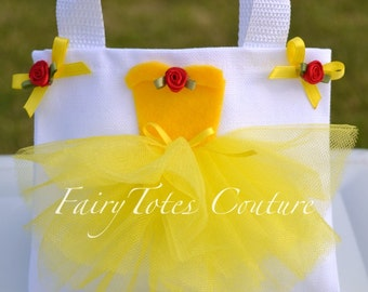 Small Size Princess Belle Inspired Tutu Tote Gift Bag - Belle Party Favor