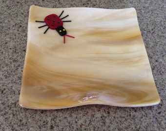 Fused Glass Light Brown Bug Plate, Stained Glass