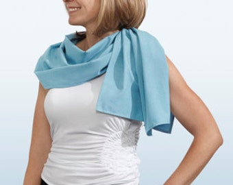 Sun Protective Scarf.  Turquoise. UV Protection rating: 30 to 50+