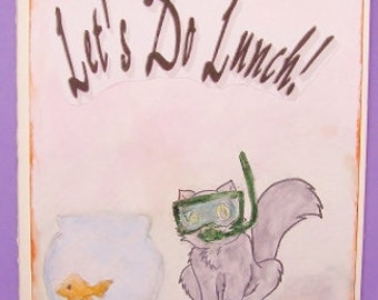 Watercolor Let's Do Lunch Card, Lunch Invitation Card