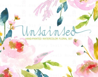 Watercolour Floral Clipart: Pastel Roses, Watercolour Clip Art/Rose/Individual PNG files/Hand Painted-Untainted
