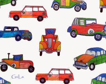 vintage old cars postcard