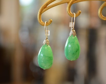 Green jade earrings dangle drop earrings