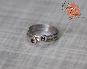 Sterling Silver Initial Stacking Rings, Mom's Rings, Personalized Stamped Bands
